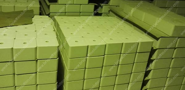 the green color animal lick salt briquette in storage