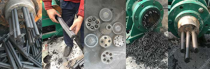 briquette extruder product and mold show