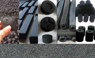 five different charocoal briquette