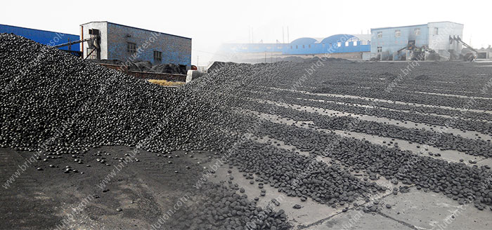 coal briquette drying on ground