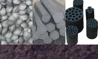 three different coal briquette