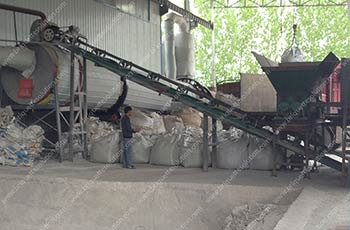 feeding fluorite powder to the cutting feed then converyor to the rotary dryer