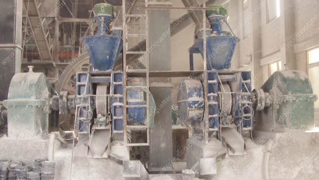 quicklime briquette plant with two sets of hydraulic roller briquette press machines