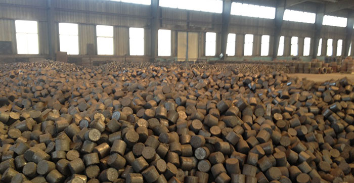 warehouse full of hydraulic iron briquette