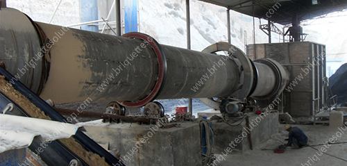 rotary dryer is drying gypsum