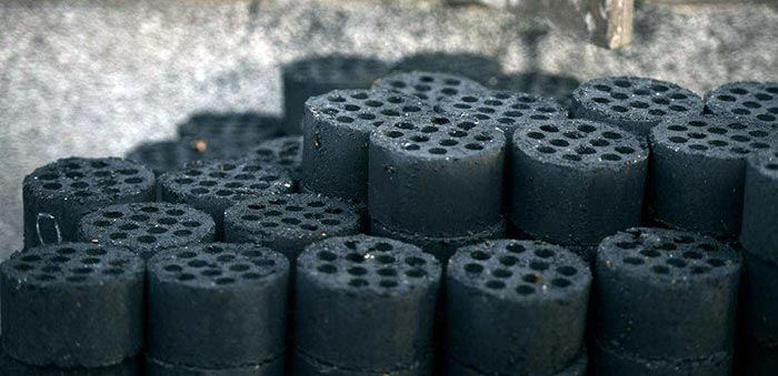 coal honeycomb briquette in storage