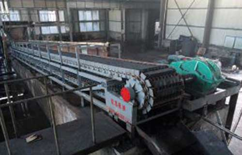 the anode briquette output conveyor - chain plate type