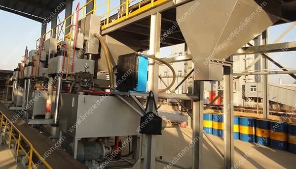 The DRI briquette line with big silos