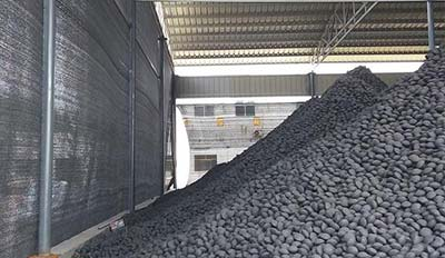 sludge briquette in storage