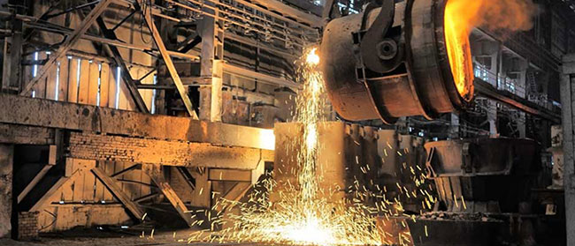 molten steel in convert furnace