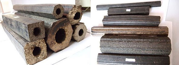 briquette from screw bio briquettes machine with different shapes